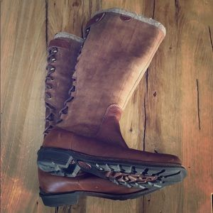 UGG Suede Leather Shearling Laceup Tall Snow Boots